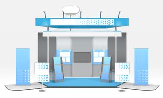 Realistische reclame tentoonstelling cabine samenstelling vector