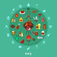 Barbecue Cirkel Samenstelling vector