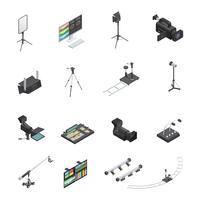 Uitzendapparatuur Icon Set vector