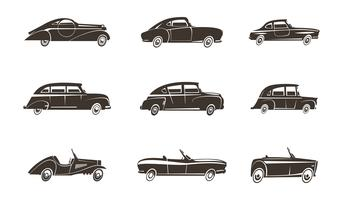Retro auto zwarte pictogrammen collectie vector