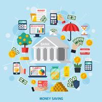 Geldbesparende concept vector