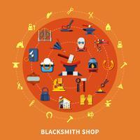 Blacksmith Shop tekent samenstelling vector