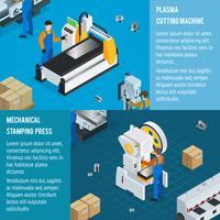 Horizontale banners van mechanische fabrieken vector