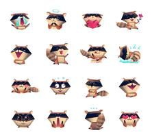 Raccoon Cartoon Character Icons Big Set