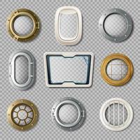 Patrijspoorten van verschillende vorm Realistische Set vector