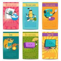 Zes gekleurde komische posters met huishoudelijke apparaten