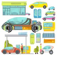 electro car flat set vector