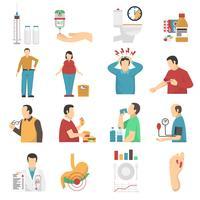 Diabetes symptomen Icons Set