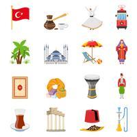 Turkije plat gekleurde pictogrammen instellen vector