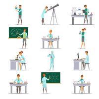 Wetenschappelijk onderzoek Retro Cartoon pictogrammen collectie vector