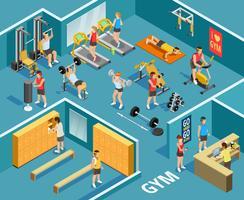 Gym Isometrische sjabloon vector