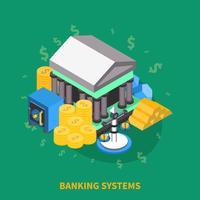 Banken Systemen Isometrische Ronde Samenstelling vector