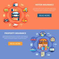 Voertuig- en huisverzekering horizontale banners vector