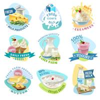 Emblemen van melkproducten instellen vector