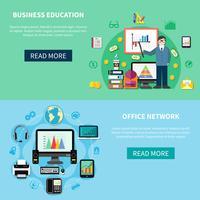 Kantoornetwerk en Banners voor bedrijfseducatie vector