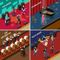 Muzikanten Mensen isometrische 2x2 Icons Set