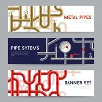 Buisensysteem Banners Set vector