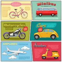 komische transport mini-posters set vector