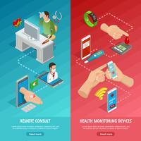 Digitale gezondheid isometrische verticale banners