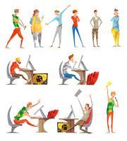 Esports elektronische sport plat pictogrammen collectie vector