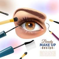 Oogmake-up Blurred achtergrond Poster vector