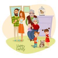 Gelukkige familie platte sjabloon
