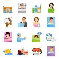 Slaapstoornissen Icon Set vector