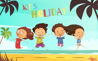 Kinderen vakantie platte vectorillustratie