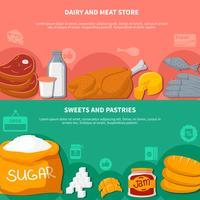 zuivel vlees snoep gebak voedsel banners vector
