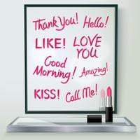 Lippenstift Love Words Frame Realistisch beeld vector