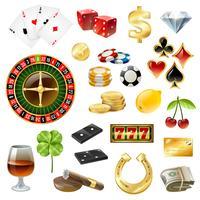 Casino-apparatuur Symbolen Accessoires Glanzende set vector