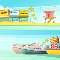 Miami Beach horizontale banners vector