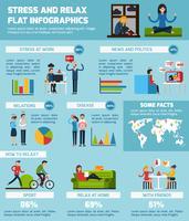 Stress en ontspannen Infographic Set