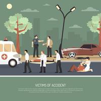 Verkeersongeval Eerste hulp vlakke poster vector