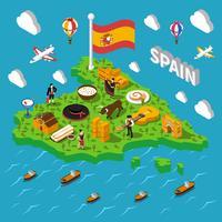 Spanje isometrische kaart illustratie vector