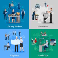 Fabrieksarbeiders 2x2 composities