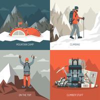 Bergbeklimmen ontwerpconcept vector