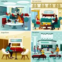 Hotel interieur Concept Icons Set