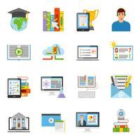 Online onderwijs plat pictogrammen instellen vector