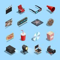 Cinema-filmaccessoires Collectie van isometrische pictogrammen vector