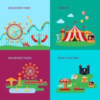 Amusement Park Concept Icons Set vector