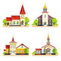 Kerk plat pictogrammen instellen vector
