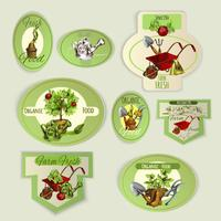 Groente tuinieren emblemen vector