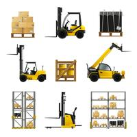 Forklift Realistic Set vector