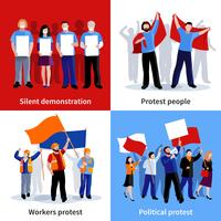 Demonstratie Protest Mensen 2x2 Icons Set