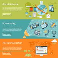 Horizontale telecommunicatiebanners vector
