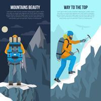 Bergbeklimmen platte Banner vector