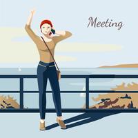 Vergadering meisje illustratie