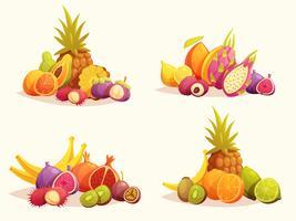Tropische vruchten 4 kleurrijke composities instellen vector