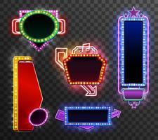 Retro licht banner instellen vector